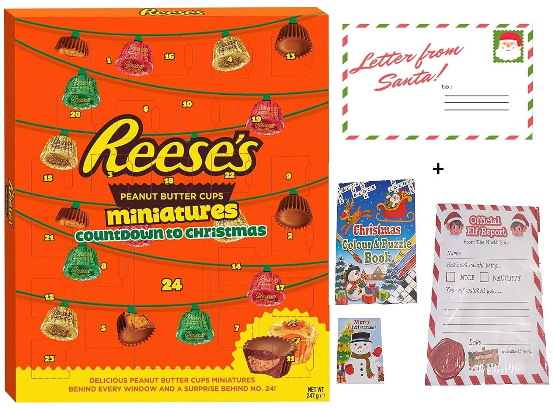 Reeses Advent Calendar Dulces Lujosa canasta grande de 347 g con libro de actividades de colores y rompecabezas de Navidad y 25 informes oficiales de Elf, 2018: Amazon.es: Alimentación y bebidas