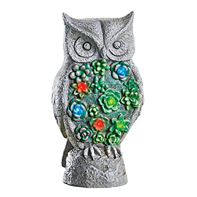 """Collections Etc Solar Powered Stone Finish Standing Owl Garden Statue - for Patio, Garden, Yard, Lawn - Realistic Stone Finish - Automatically Shines at Night - Resin - 5"""" L x 4"""" W x 9.75"""" H: Home & Kitchen"""