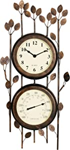 Combo Metal Wall Clock and Thermometer. Wrought Iron with Leaf Design. Indoor/Outdoor Garden