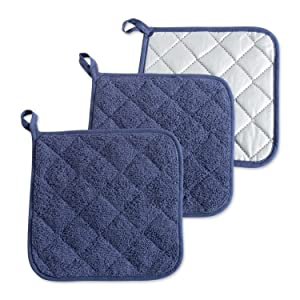DII, Cotton Terry Pot Holders, Heat Resistant and Machine Washable, Set of 3, French Blue