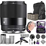 Sigma 30mm f/1.4 DC DN Contemporary Lens for Canon EF-M with Altura Photo Essential Accessory and Travel Bundle