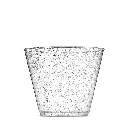 100 Glitter Plastic Cups   9 Oz Clear Plastic Cups Old Fashioned Tumblers   Silver Glitter