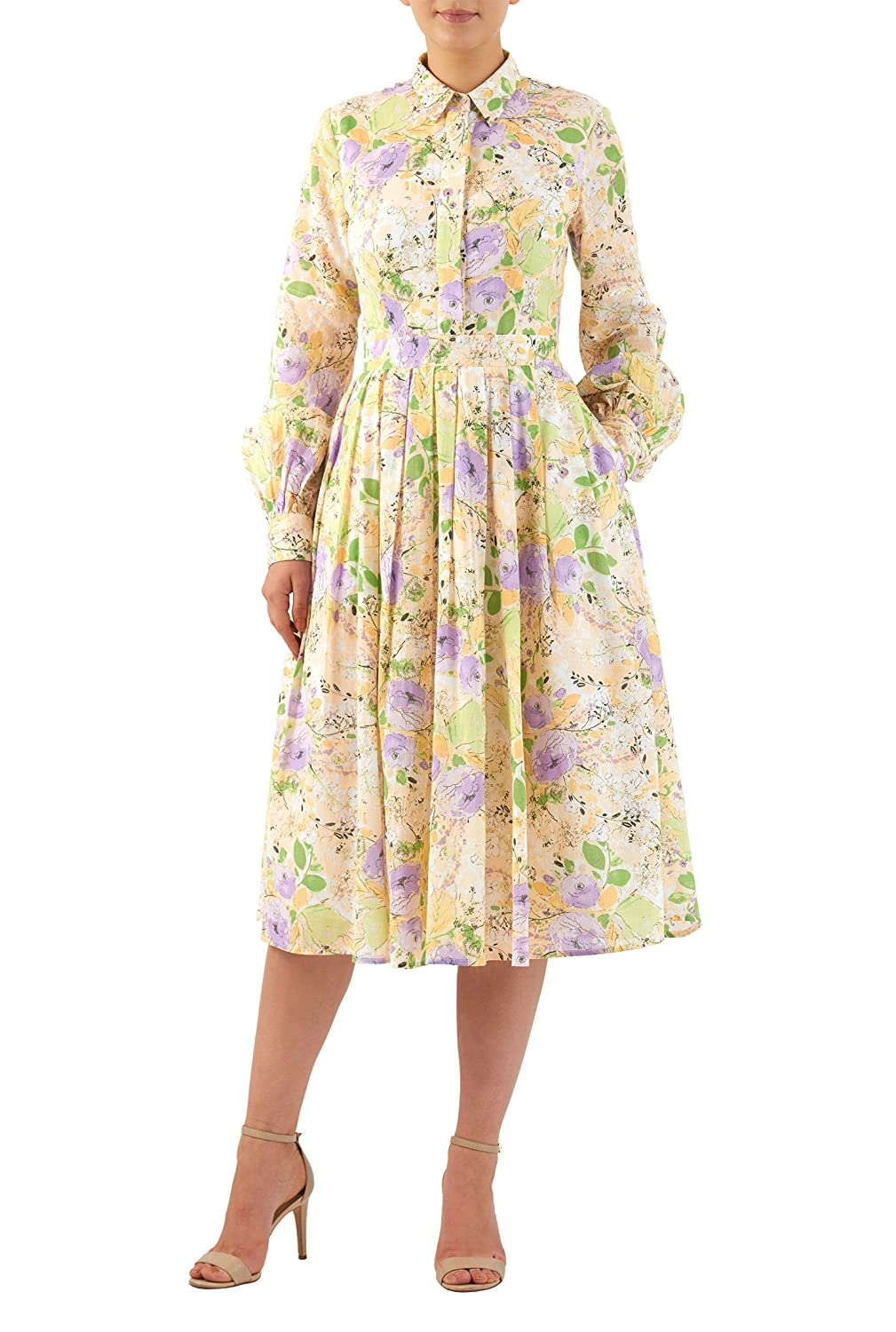 1960s – 70s Dresses- Retro Inspired Fashion eShakti Womens Statement sleeve floral print cotton shirtdress $62.95 AT vintagedancer.com