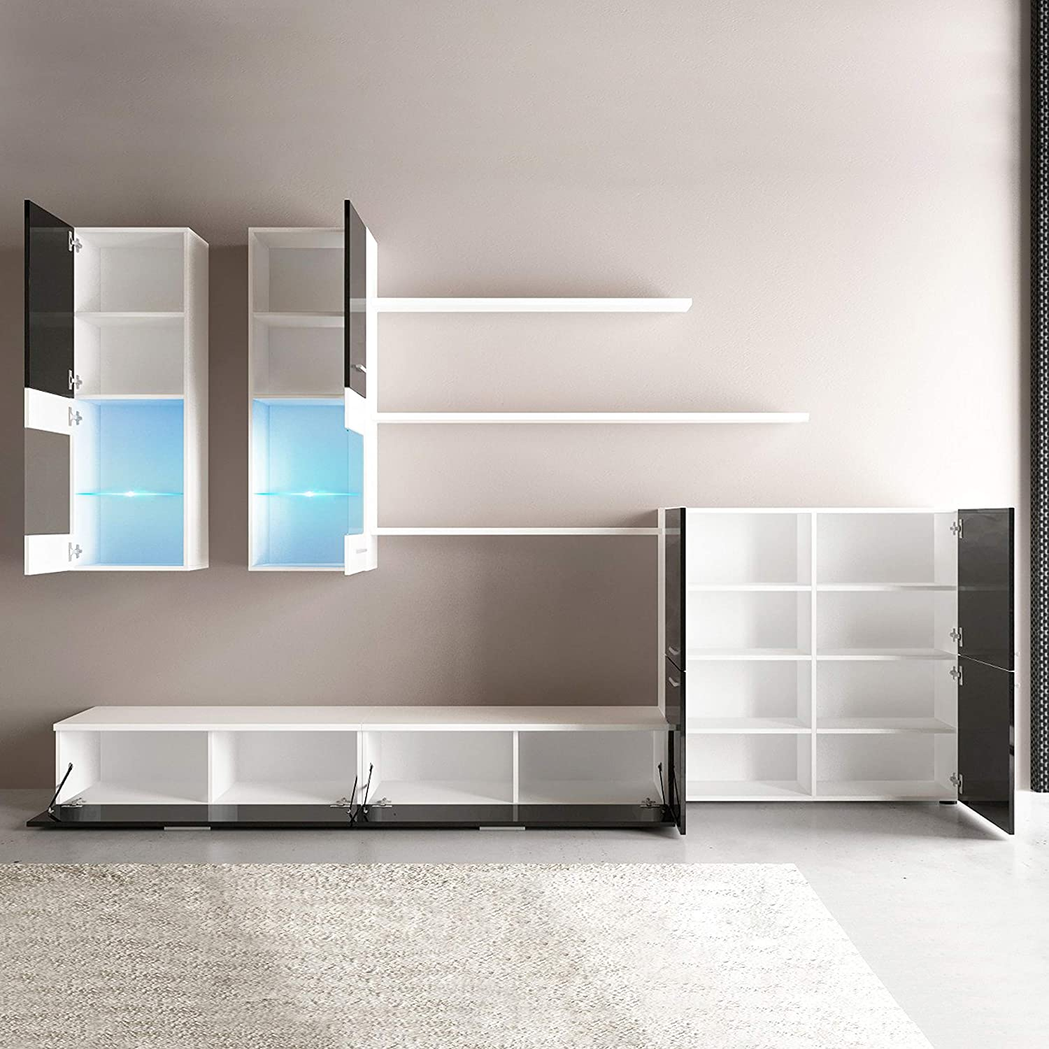 Mueble Comedor Moderno, Salón con Luces Led, Acabado en Negro Brillo Lacado y Blanco Mate, Medidas: 300 cm (Ancho) x 189 cm (Alto) x 42 cm (Fondo)