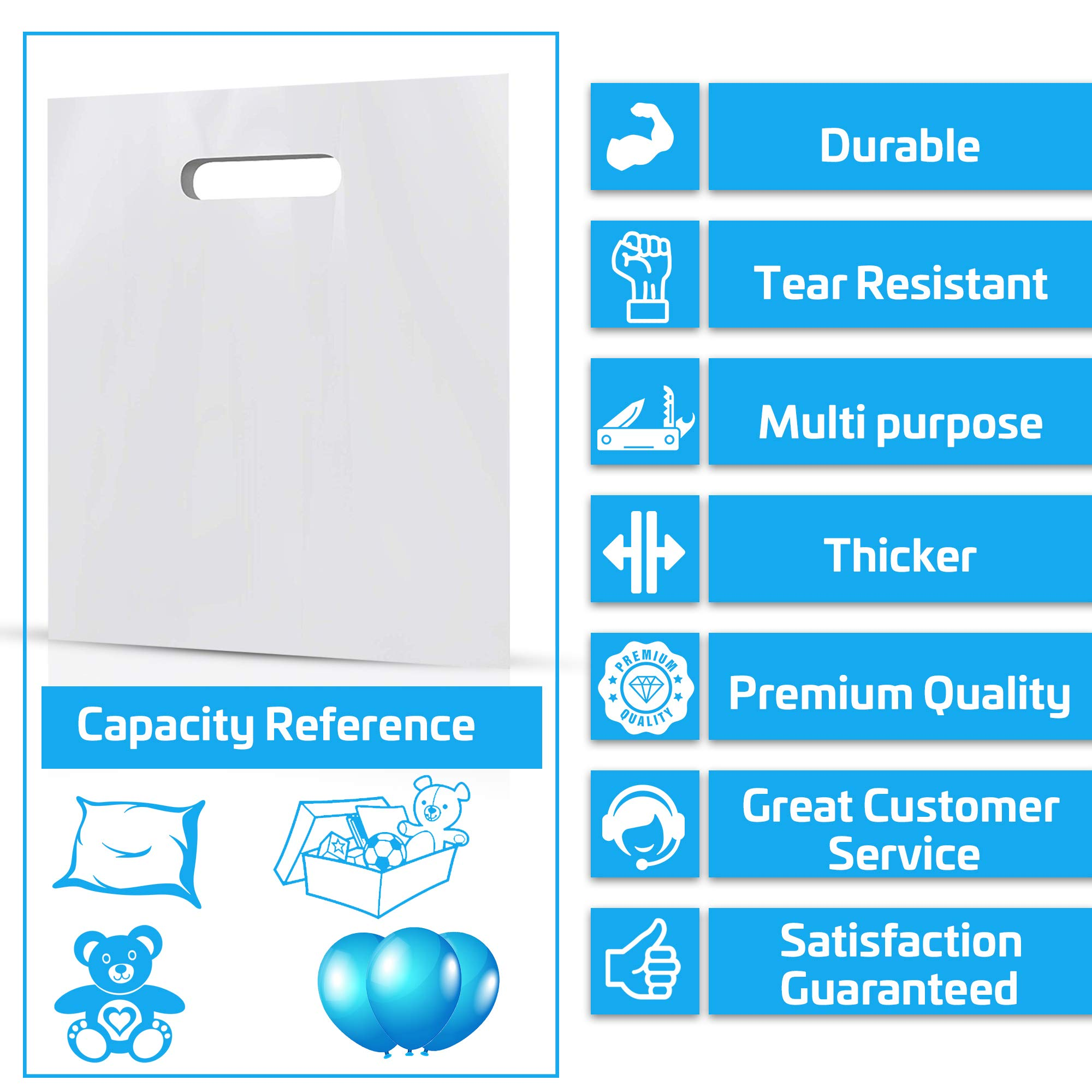 100 Pack 20'' x 20'' with 2 mil Thick Extra Large White Merchandise Plastic Glossy Retail Bags | Die Cut Handles | Perfect for Shopping, Large Packages, Children Toys | Color White | 100% Recyclable by Popular Plastic Bags (Image #3)