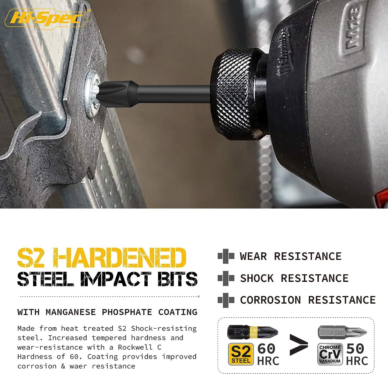 Hi-Spec Juego de 43 piezas de Brocas con Cuerpo Hex para Taladro de Impacto y Herramientas El/éctricas Incluye un Cable de Extensi/ón Flexible Conector de Puntas y Vasos.