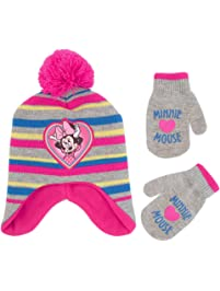 39f57ee44cf Disney Girls  Toddler Minnie Mouse Pom Hat and Mittens Cold Weather Set
