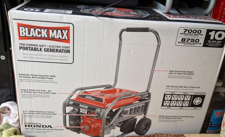 Black Max 7000 8750 Watt Portable Generator Bm907000 Coupled To Gravity On Wiring Standby Transfer Electric Start Powered Honda Garden Outdoor