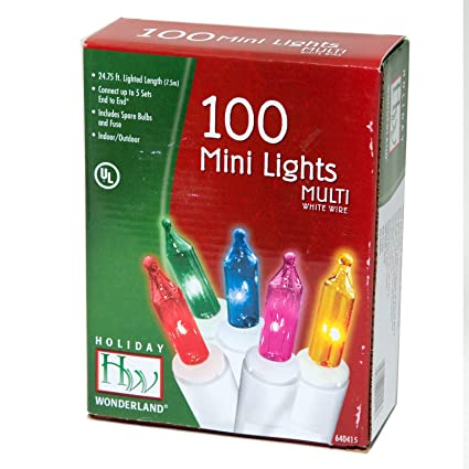 nomainliten 100 count multi color christmas light set white wire