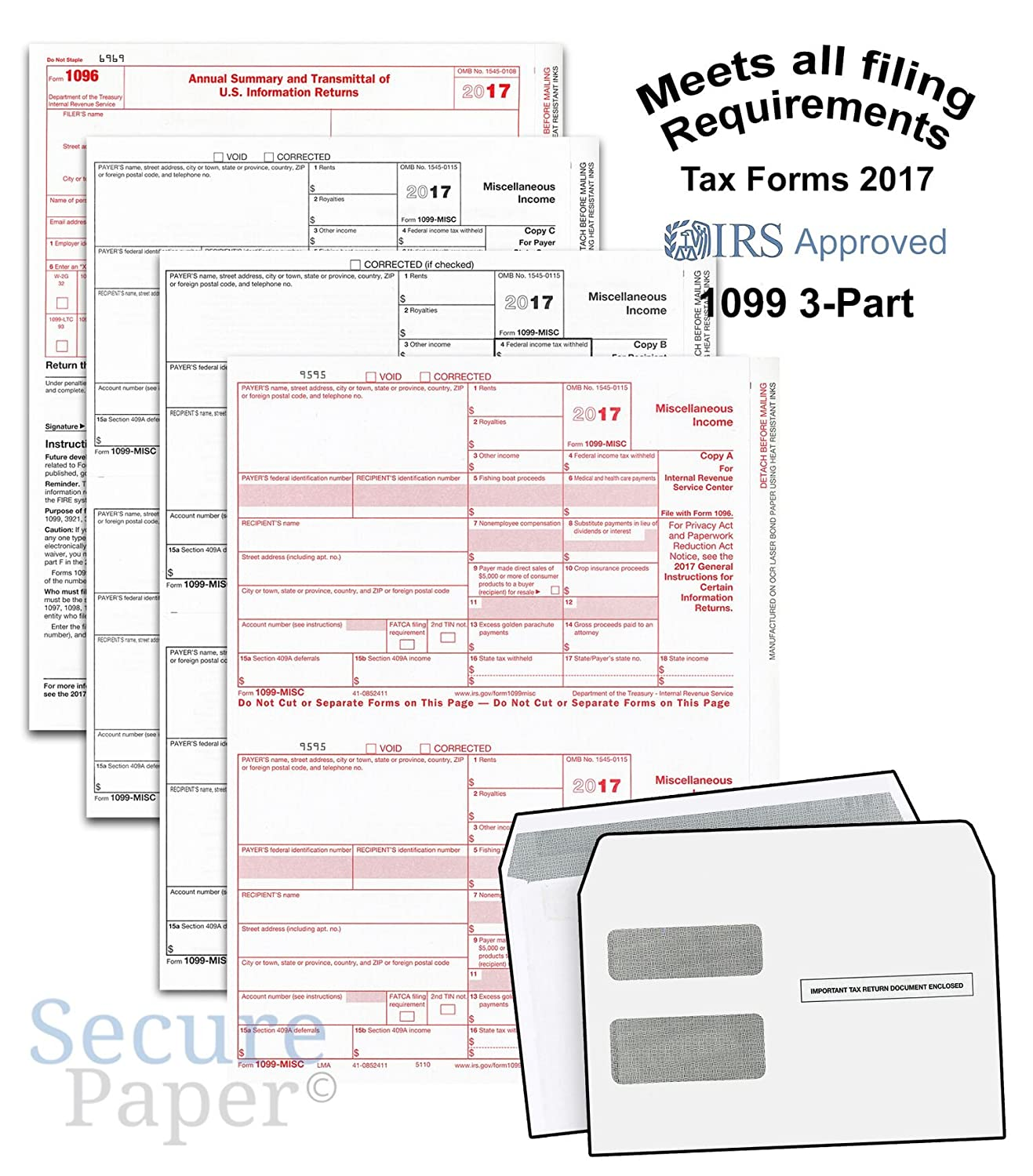 Amazon Complete Laser 1099 Misc Tax Form Set And 1096 Kit