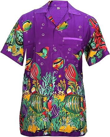 SAITARK - Camisa casual - con botones - para hombre PURPLE FISH Large: Amazon.es: Ropa y accesorios