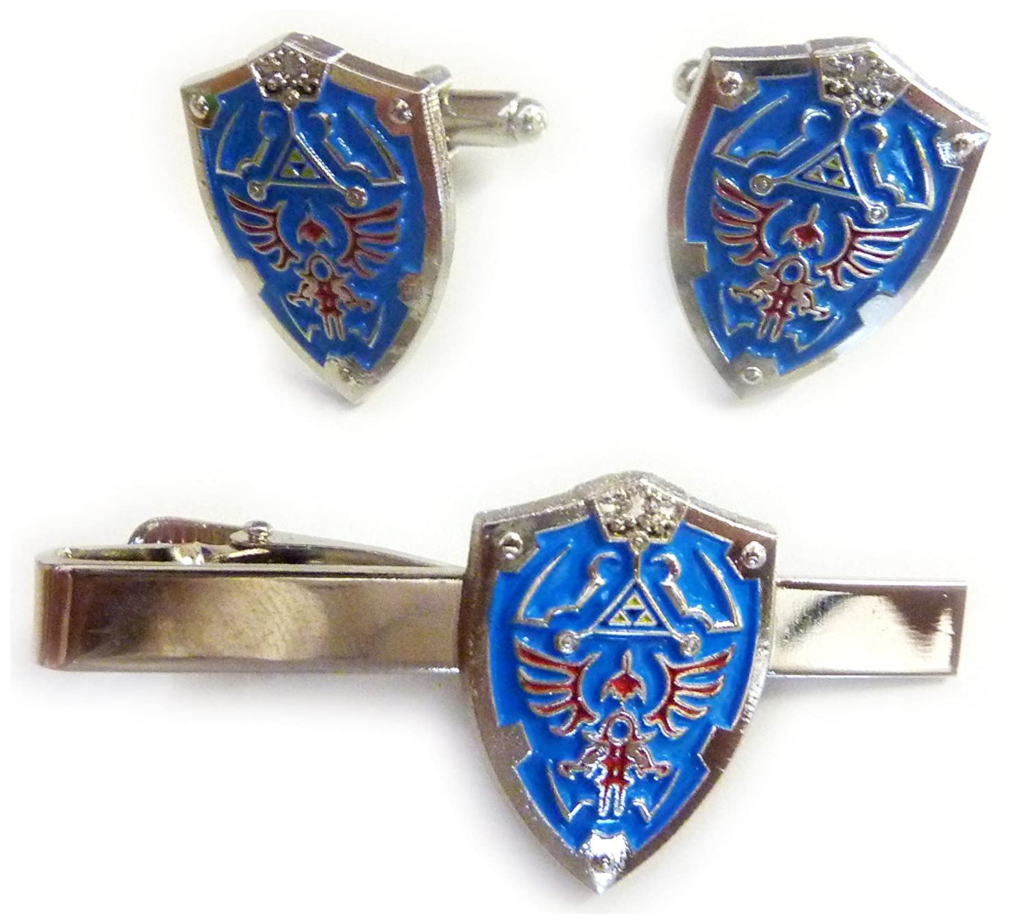 Legend of Zelda Hylian Triforce Mini Shield TIE Bar Clip Cufflinks Set GeoPromotions