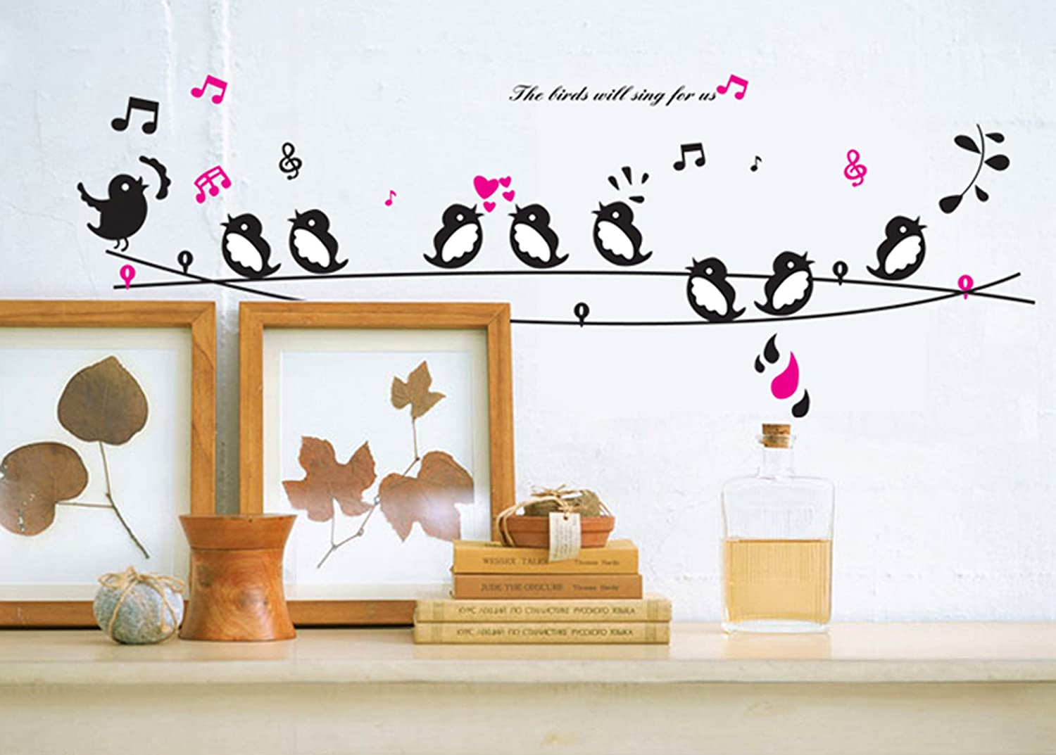 Buy uberlyfe singing birds wall sticker size 3 wall covering area buy uberlyfe singing birds wall sticker size 3 wall covering area 58cm x 160cm ws 735 online at low prices in india amazon amipublicfo Images