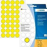Herma 2251 Haftetiketten farbig, rund (Ø 19 mm, Papier matt) 1.280 Stück Markierungspunkte auf 32 Blatt, gelb, selbstklebend, Handbeschriftung