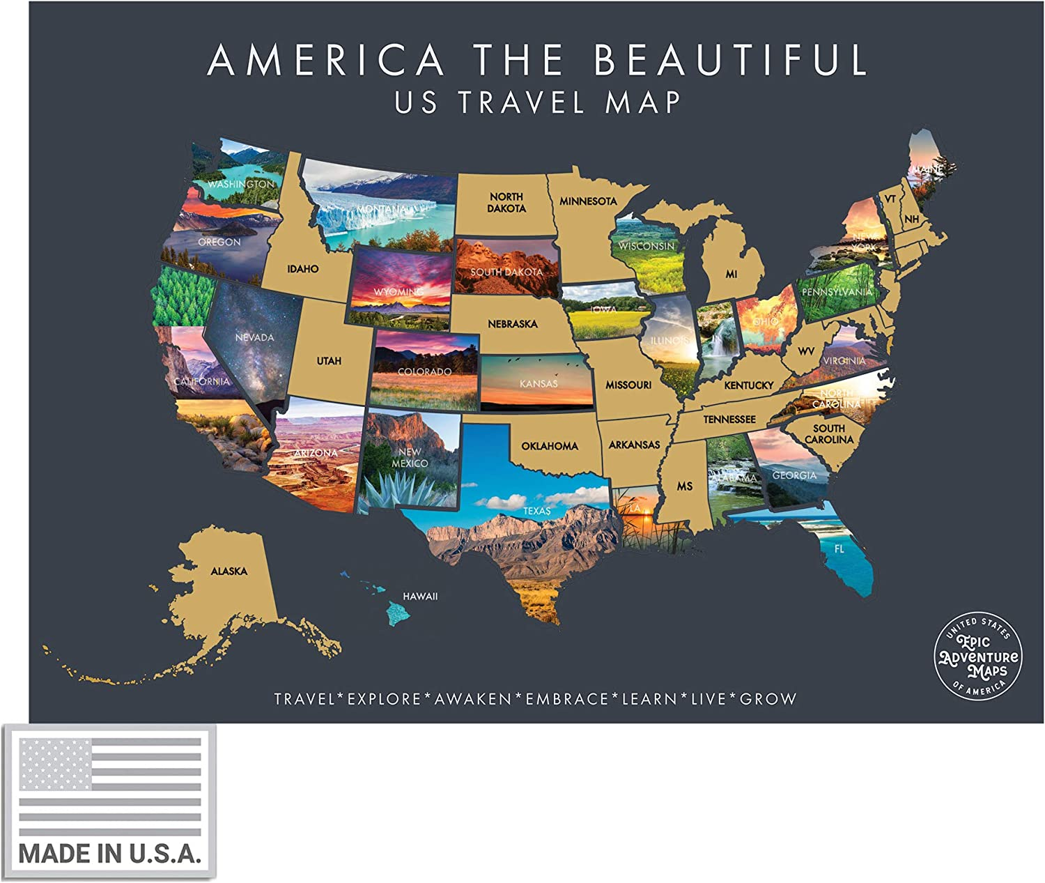Epic Adventure Maps America The Beautiful USA Scratch Off Map- Interactive Travel Scratch Off Poster Reveals Beautiful Nature Photography of Each 50 States - Travel Poster - Great Gift for Travelers