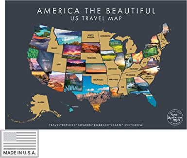 Us Map Places Traveled Amazon.com: America The Beautiful USA Scratch Off Map  Interactive