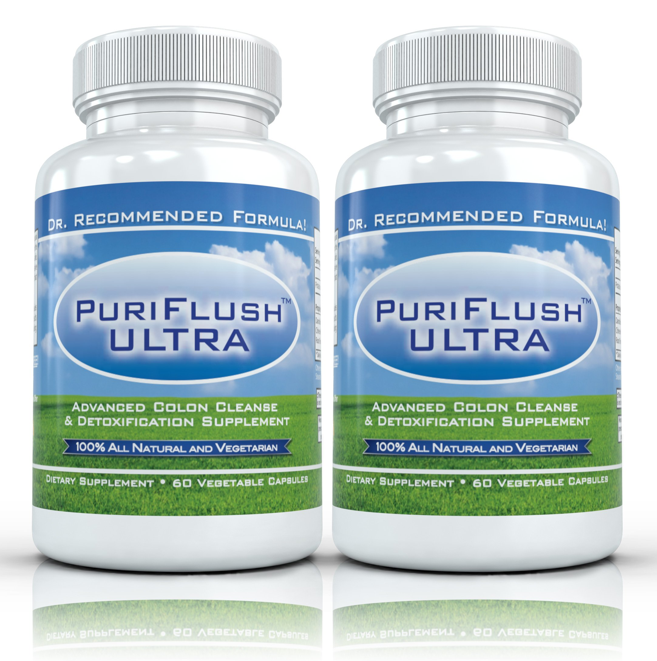 PURIFLUSH ULTRA (2 Bottles) - Professional Strength All-Natural Colon Cleanse Supplement (60 Capsules per Bottle)