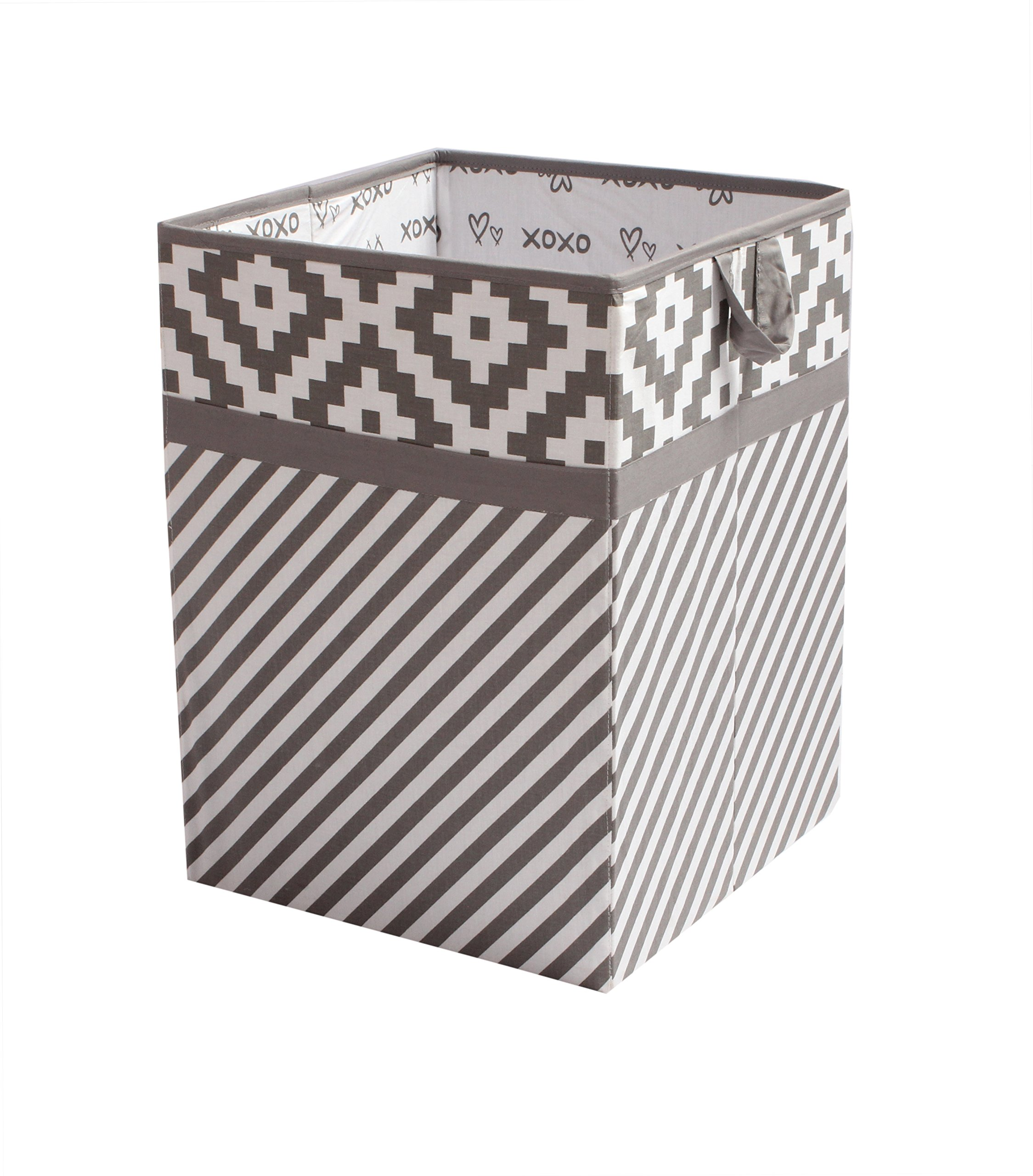 Bacati Love Fabric Collapsible Hamper, Grey/white, 14'' x 14'' x 19''