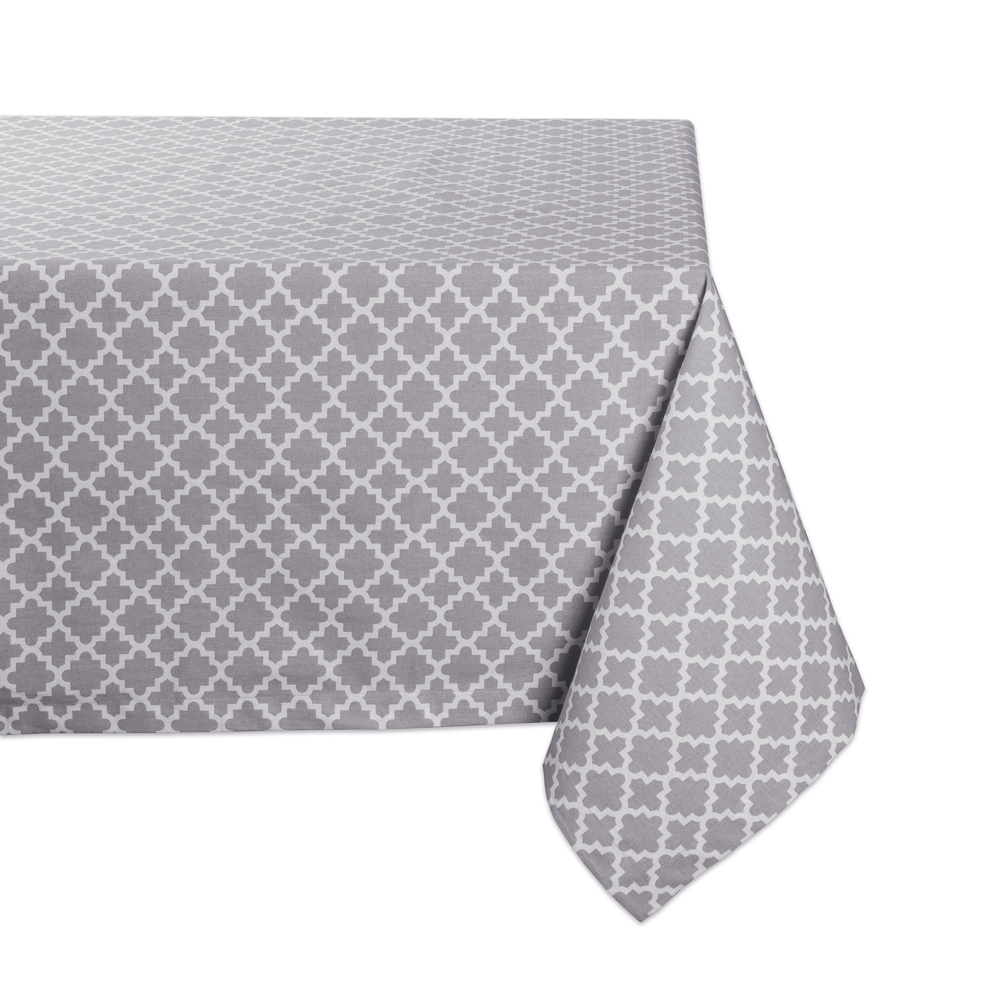 DII Rectangle Lattice Cotton Tablecloth for Weddings, Picnics, Summer Parties and Everyday Use - 60x104'', Gray and White