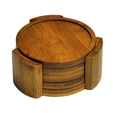 HealthPro Organic Moso Bamboo Collection 5-Piece Heavy Duty Round Coaster Set