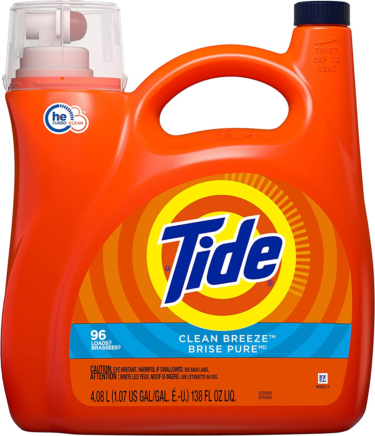 Tide Liquid Laundry Detergent, Clean Breeze, 96 Loads 138 Fl Oz