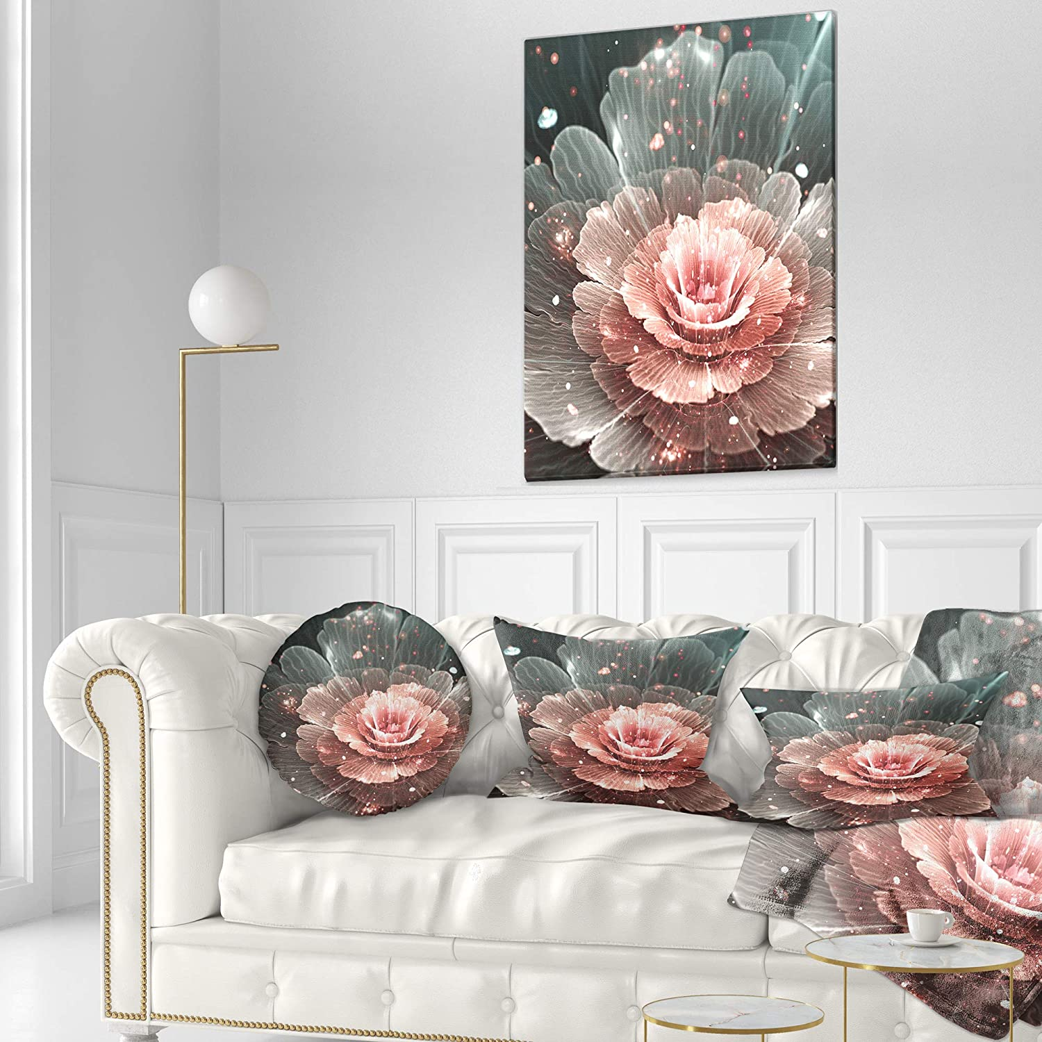 Designart CU8909-20-20-C Abstract Fractal Pink Gray Flower Floral Round Cushion Cover for Living Room Sofa Throw Pillow 20