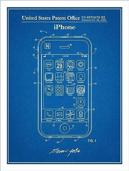 Amazon steve jobs apple iphone patent print art poster unframed steve jobs apple iphone patent print art poster unframed blueprint 18quot malvernweather Images