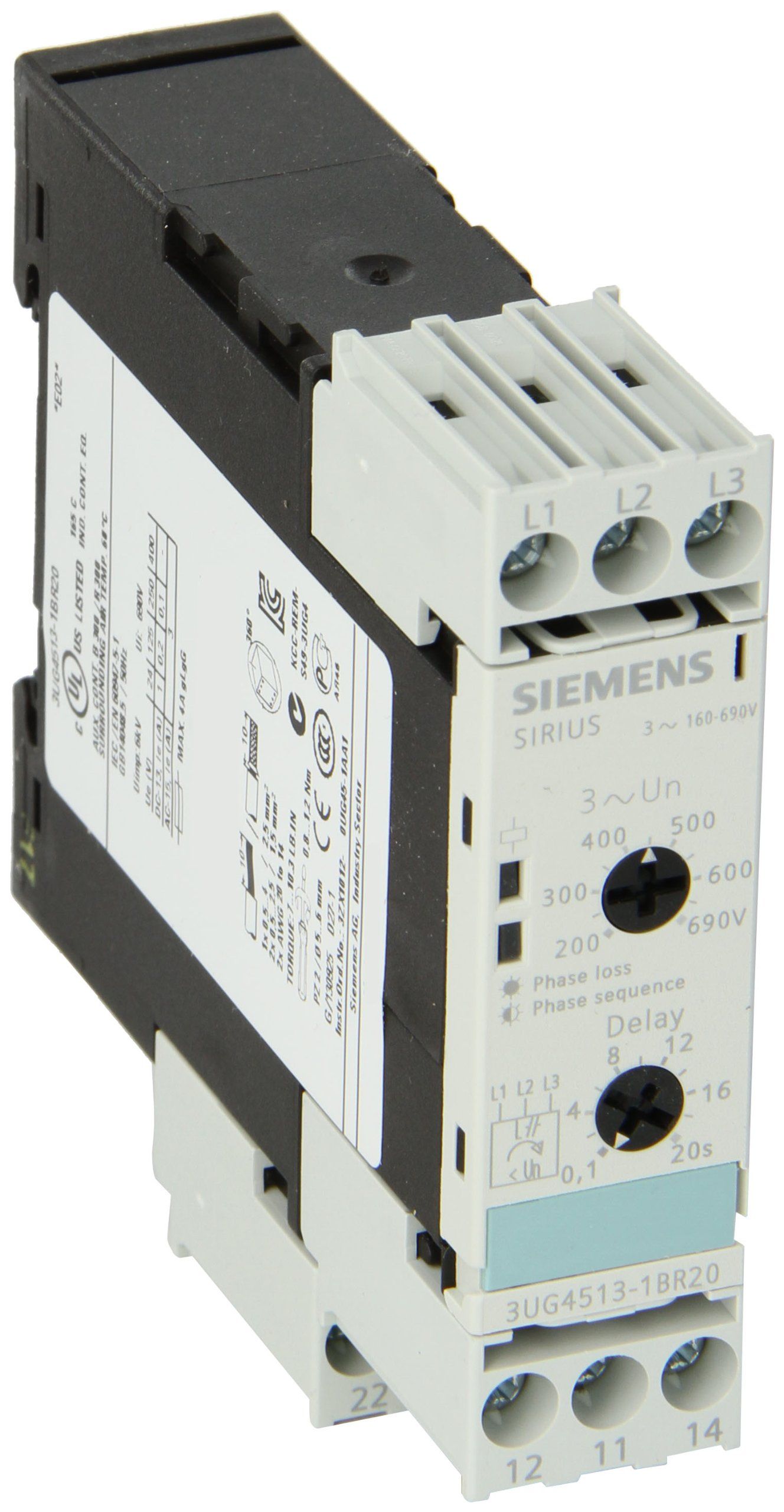 Siemens 3UG4513-1BR20 Monitoring Relay, Three Phase Voltage, Insulation Monitoring, 22.5mm Width, Screw Terminal, 2 CO Contacts, Off Delay 0-20s Delay Time, 160-690 Line Supply Voltage by SIEMENS