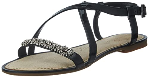 e789b703000a Clarks Womens Smart Clarks Sail Breeze Synthetic Sandals In Black Patent  Standard Fit Size 4