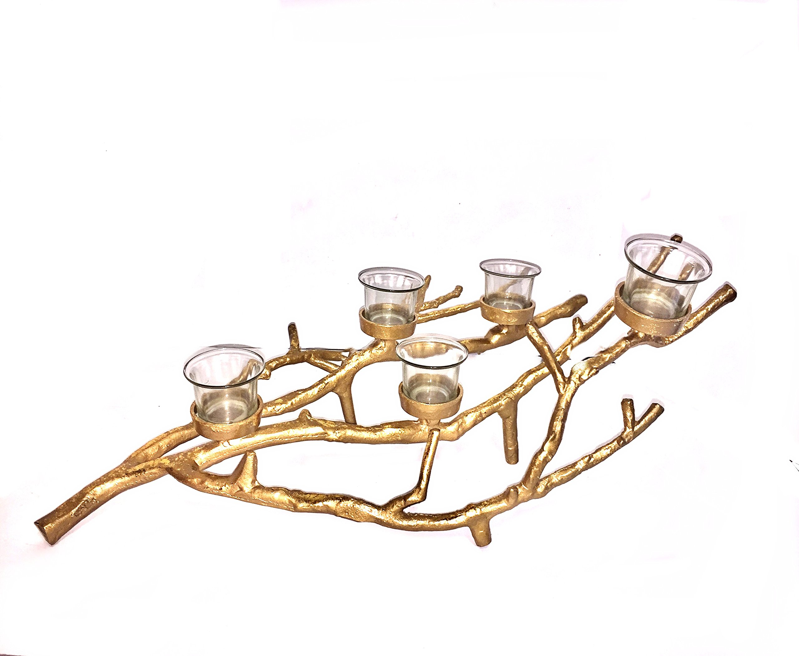 Manzanita Artisan Branch Candle Holder (23''x12''x4'', Brassy Gold)