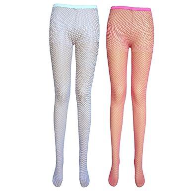 ae3c6b14aabcc Ladies fishnet tights (medium net, 2 pairs white + hot pink): Amazon.co.uk:  Clothing