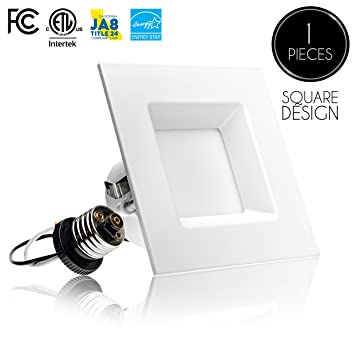 1 pack 4 inch led square downlight trim 10w 60w replacement 1 pack 4 inch led square downlight trim 10w 60w aloadofball Image collections