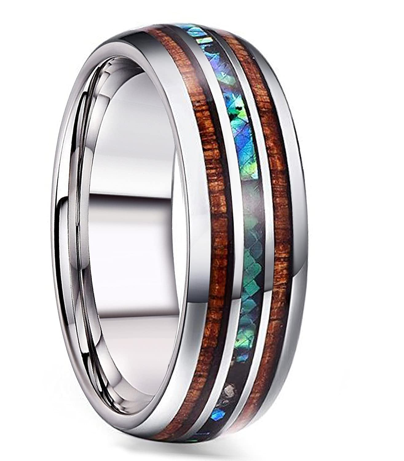 FIBO STEEL 8MM Titanium Wedding Band Ring for Men Women Wood and Abalone Shell Inlaid Size 7-14 2MTR0081