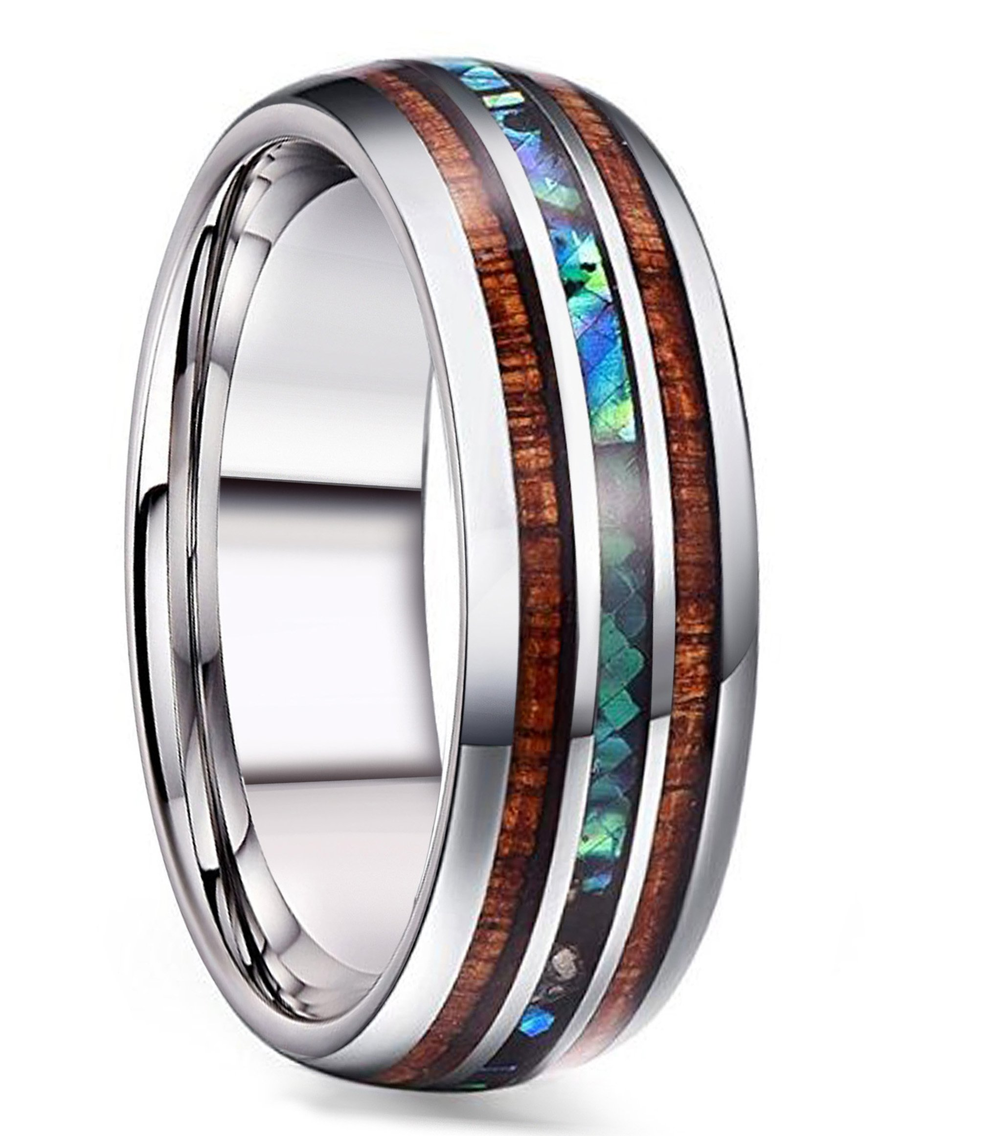 FIBO STEEL 8MM Titanium Wedding Band Ring for Men Women Wood and Abalone Shell Inlaid Size 8