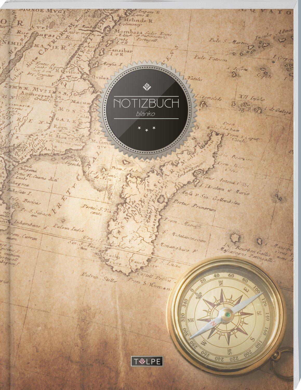 """TULPE Blanko Notizbuch A4 """"C017 Reisen"""" (140+ Seiten, Vintage Softcover, Seitenzahlen, Register, Weißes Papier - Dickes Notizheft, Skizzenbuch, Zeichenbuch, Blankobuch, Sketchbook)"""