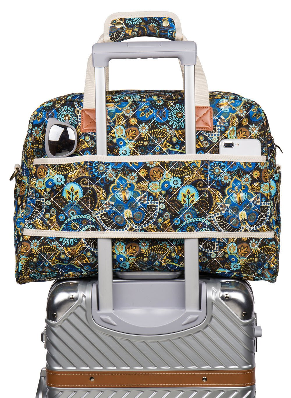 Malirona Canvas Overnight Bag Women Weekender Bag Carry On Travel Duffel Bag Floral (Black Flower) by Malirona (Image #6)