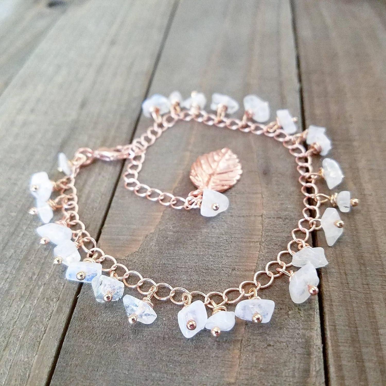 7af390cb89f5e Amazon.com: Ankle bracelet | Rose gold anklet | Rainbow moonstone ...