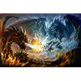 Puzzles for Adults 1000 Piece Jigsaw Puzzles Fire Dragon and Electric Dragon Fight Puzzle Game for Indoor Activity Family Gam