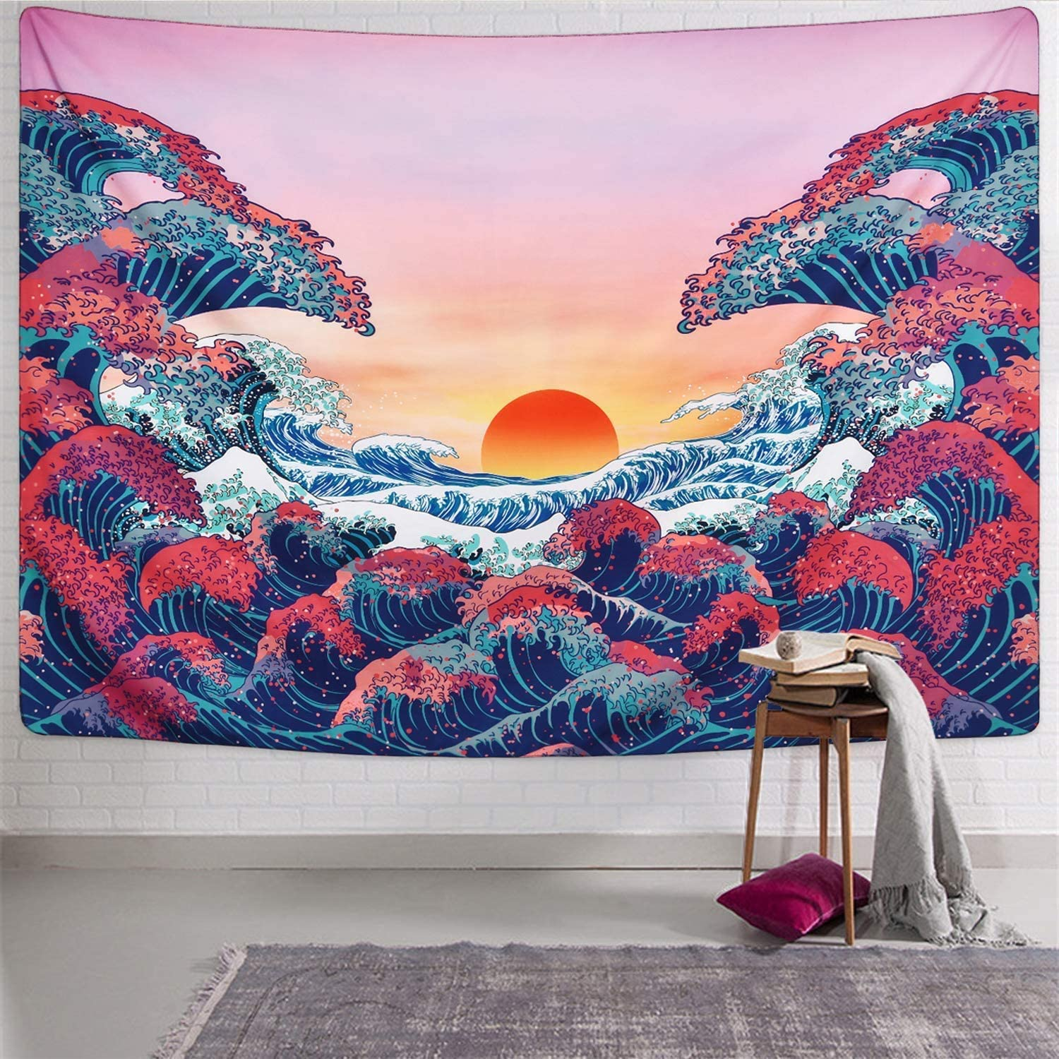 DORCAS Blue Mandala Tapestry Bohemian Flower Wall Hanging Psychedelic Tapestry Hippie Tapestries Floral Medallion Tapestry for Bedroom Living Room Dorm Decor