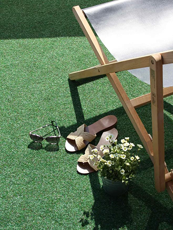 Tapis Gazon Artificiel GREEN avec Picots de Drainage Terrasse Gris 2,00m x 6,50m Tapis Type Gazon Synth/étique au m/ètre Balcon Moquette dext/érieur Jardin etc