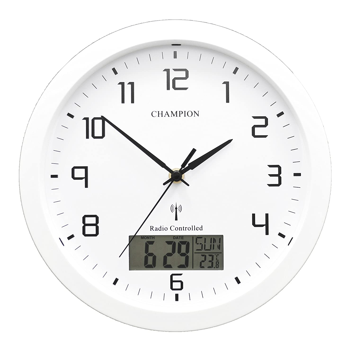 Champion 25cm msf radio controlled quartz wall clock with inset champion 25cm msf radio controlled quartz wall clock with inset lcd display with daydate white amazon kitchen home amipublicfo Image collections