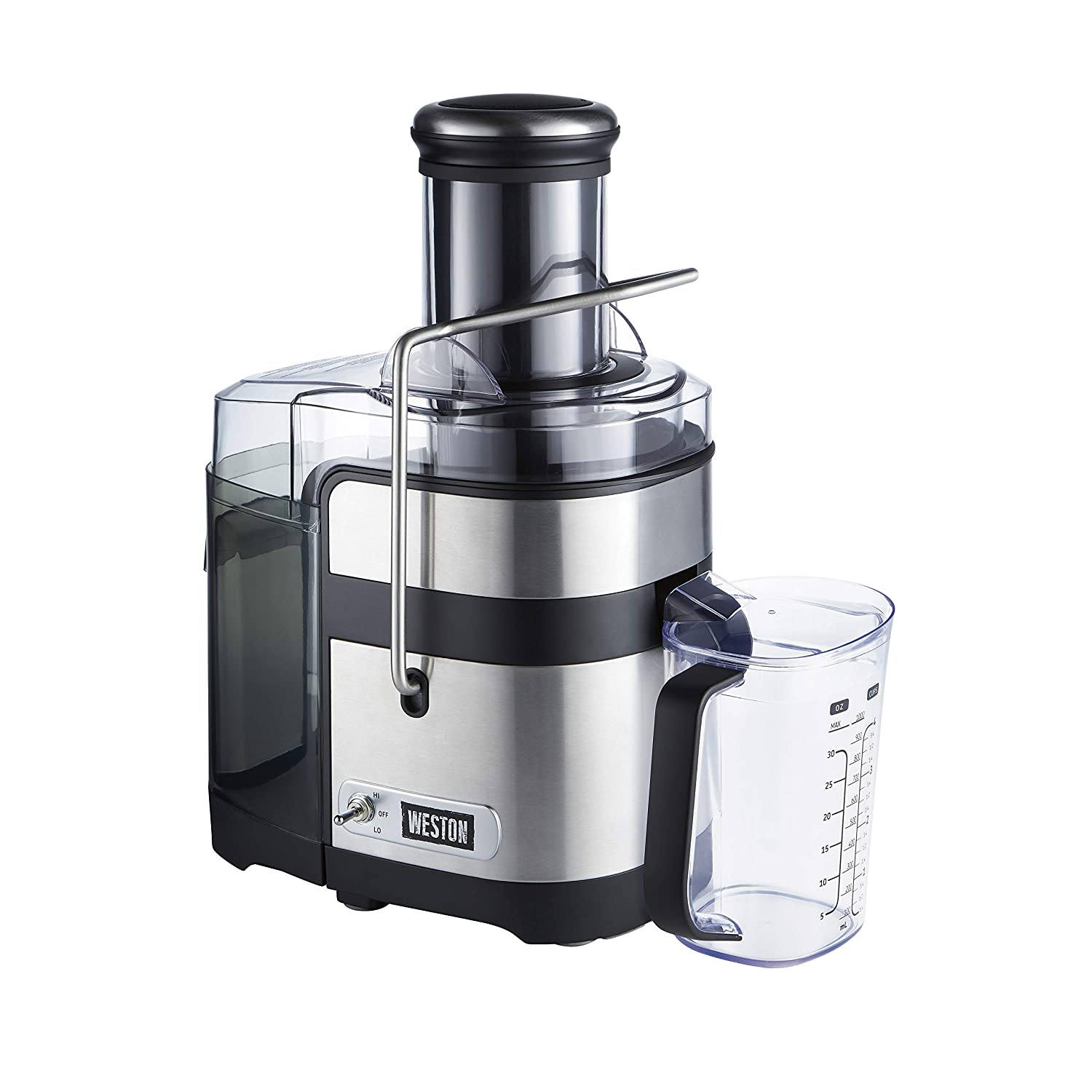 Weston Powerful Juicer Machine with XL 3.5 Feed Chute, BPA Free, 1100W, Easy Sweep Cleaning Tool 67902 , Silver