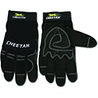 MCR Safety 935CHM Cheetah Synthetic Leather Mechanic Style Gloves with Vented Finger Sidewalls and Fourchettes, Black…
