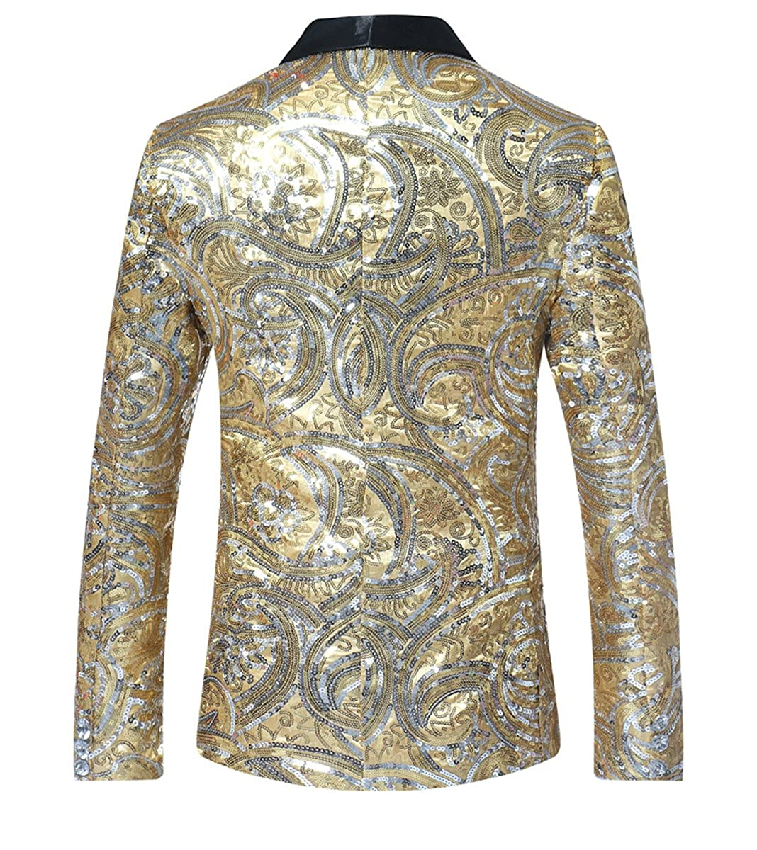 Blazers Smart Men Sequins Blazer Designs Plus Size 2xl Black Velvet Gold Sequined Suit Jacket Dj Club Stage Party Wedding Clothes Men's Clothing