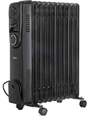 VonHaus Oil Filled Radiator 2.5KW 11 fin – Portable Electric Heater – 3 Power Settings, Adjustable Temperature/Thermostat, Thermal Safety Cut off & 24 Hour Timer – Black 2500W