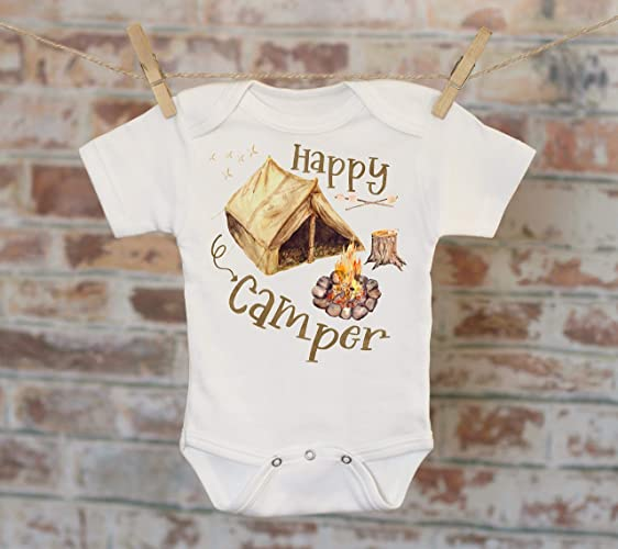 1b4d61778e90d Amazon.com: Rustic Happy Camper Onesie®, Camping Onesie, Baby Boy Outfit, Baby  Boy Clothes, Cute Onesie, Boho Baby Onesie, Boy Onesie: Handmade