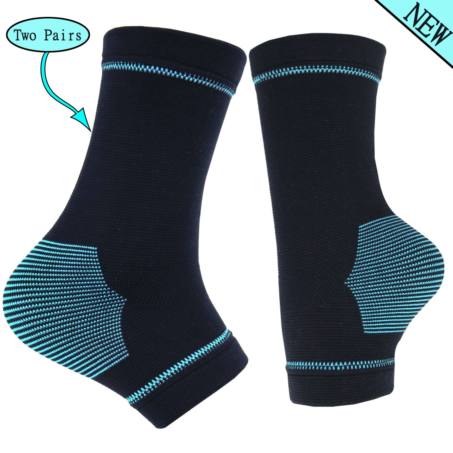 TongXG Plantar Fasciitis Compression sleeves for Ankle/Heel Support, Increase Blood Circulation, Relieve Arch Pain, Reduce Foot Swelling & Heel Spur Pain. (Black & Black 2 Pairs, S)