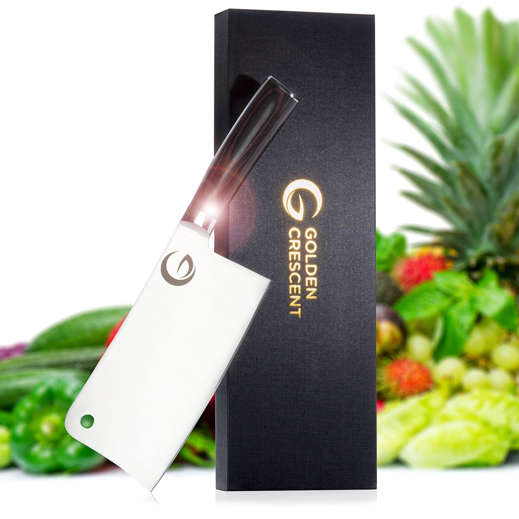 Professional 7inch Kitchen Cleaver by GoldenCrescent | High Carbon Stainless Steel | Heavy Duty Sharp Butcher Knife for Chopping & Slicing | Excellent for Meat, Fish, Vegetables & Fruit