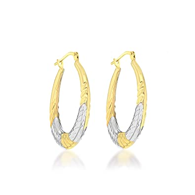b1c11ef3a Tuscany Silver Sterling Silver 9 ct Gold Bonded 2-Tone Diamond Cut 26 mm Creole  Earrings: Amazon.co.uk: Jewellery