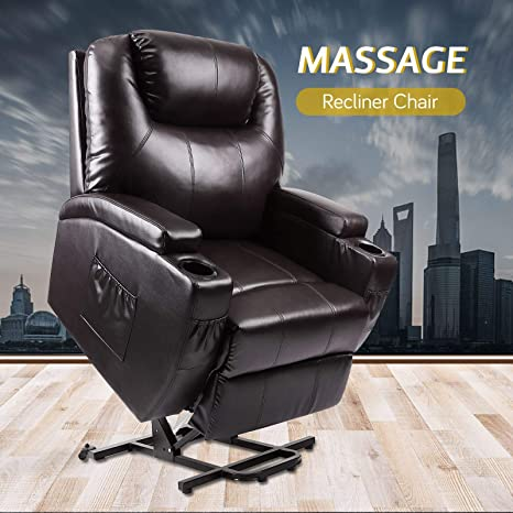 Astonishing Lift Chair Vosson Power Lift Recliner Electric Recliner Chairs W 2 Massage Points Pu Leather Recliner Massage Chair For Elderly W Drink Ibusinesslaw Wood Chair Design Ideas Ibusinesslaworg